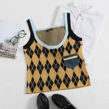 Pocket Front Argyle Pattern Knit Top