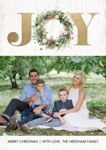 Christmas Photo Cards 5x7 Cards, Standard Cardstock 85lb, Card & Stationery -Christmas Joy Gold by Tumbalina