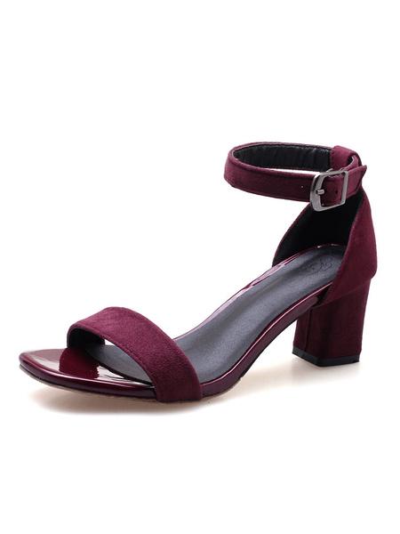 Milanoo Sandalias de tacon grueso sandalias de punta abierta negro detalle de la sandalia para las mujeres