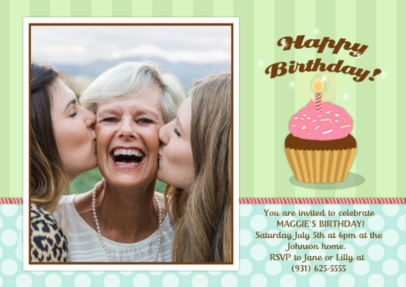 Birthday Party Invites Flat Glossy Photo Paper Cards with Envelopes, 5x7, Card & Stationery -Happy Birthday!