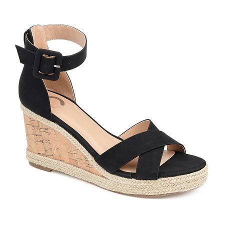 Journee Collection Womens Telyn Open Toe Wedge Heel Pumps, 8 Medium, Black