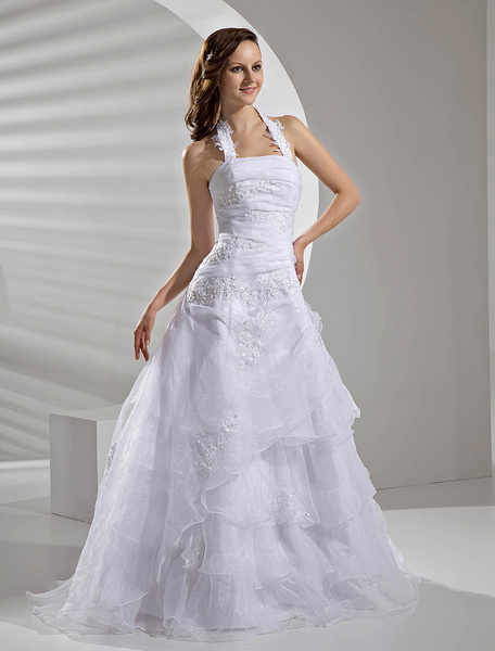 Milanoo Floor-Length White Bridal Wedding Gown with Halter A-line Applique