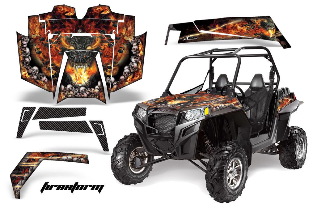 AMR Racing  Full Custom UTV Graphics Decal Kit Wrap Firestorm Polaris RZR XP 900 11-14