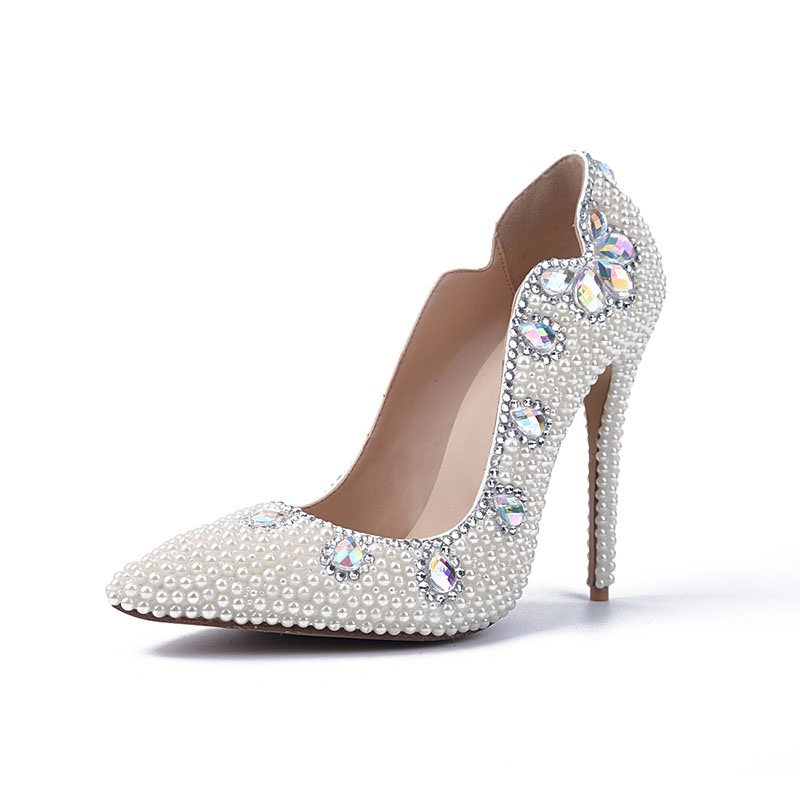 Ericdress Beads Pointed Toe Stiletto Heel Wedding Shoes