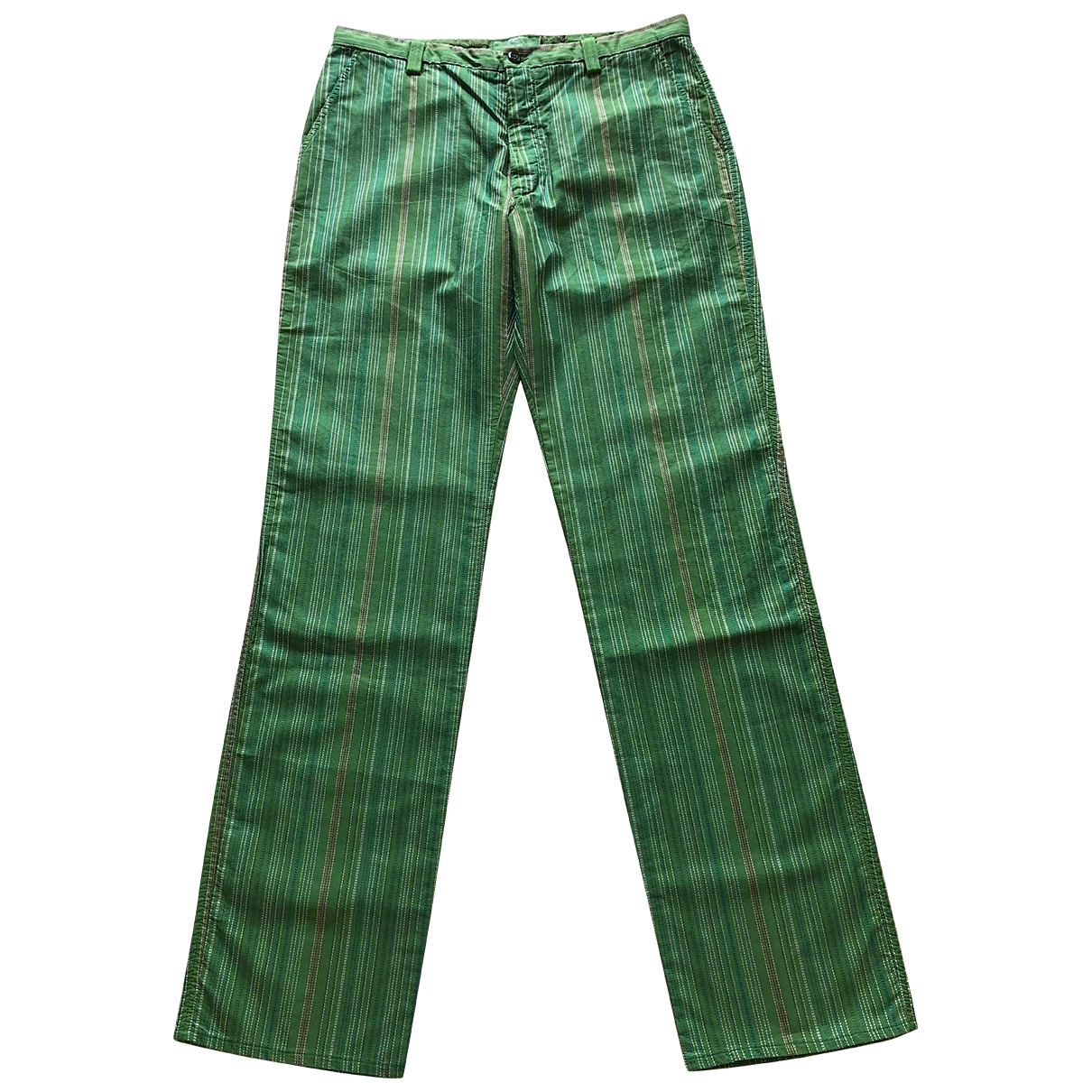 Etro \N Green Cotton Trousers for Men 52 IT