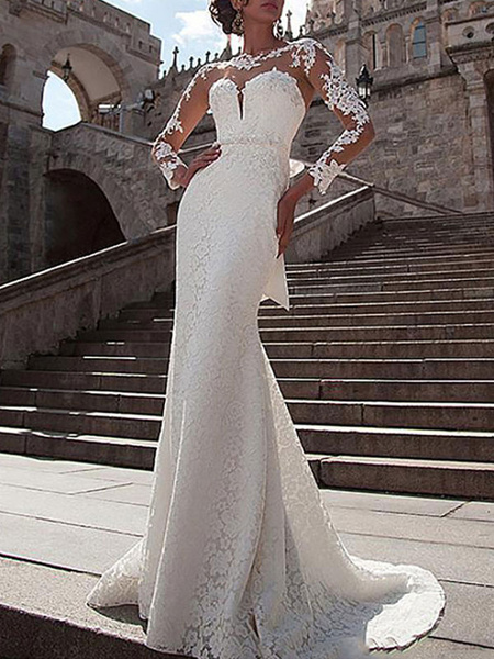 Milanoo Wedding Dress Lace Illusion Neck Long Sleeves Mermaid Bridal Gowns With Court Train