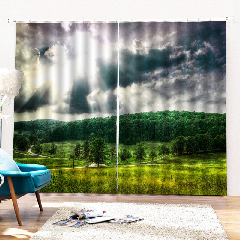 Beddinginn Modern Ultraviolet-Proof Landscape Curtains/Window Screens