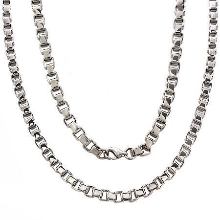 Mens Stainless Steel 24 5mm Box Chain Necklace, One Size , No Color Family