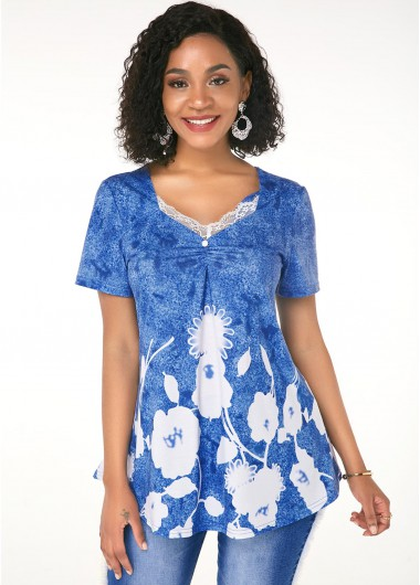 Printed Lace Trim Short Sleeve T Shirt - L