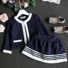 Toddler Girl Colorblock Jacket & Striped Elastic Waist Skirt
