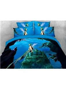 Mermaid Princess and Castle 3D Ocean Printed 4-Piece Bedding Sets/Duvet Covers