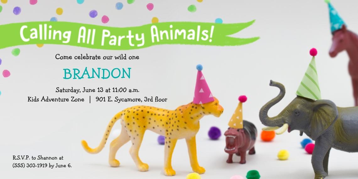Kids Birthday Party 4x8 Flat Card Set, 85lb, Card & Stationery -Safari Party Animals Invitation by Hallmark