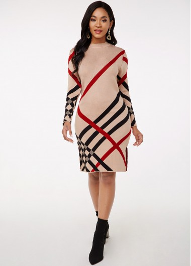 Cocktail Party Dress Striped Mock Neck Long Sleeve Sweater Dress - M