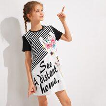 Girls Animal & Slogan Graphic Striped Dress
