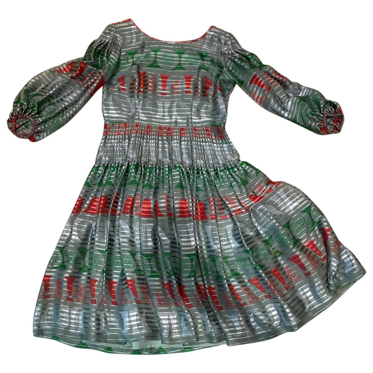 Non Signé / Unsigned Hippie Chic Green Silk dress for Women M International