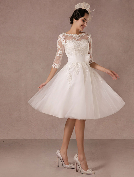 Milanoo Short Wedding Dress Vintage Lace Applique Long Sleeves Tea length A line Tulle Bridal Gown With Flower Sash