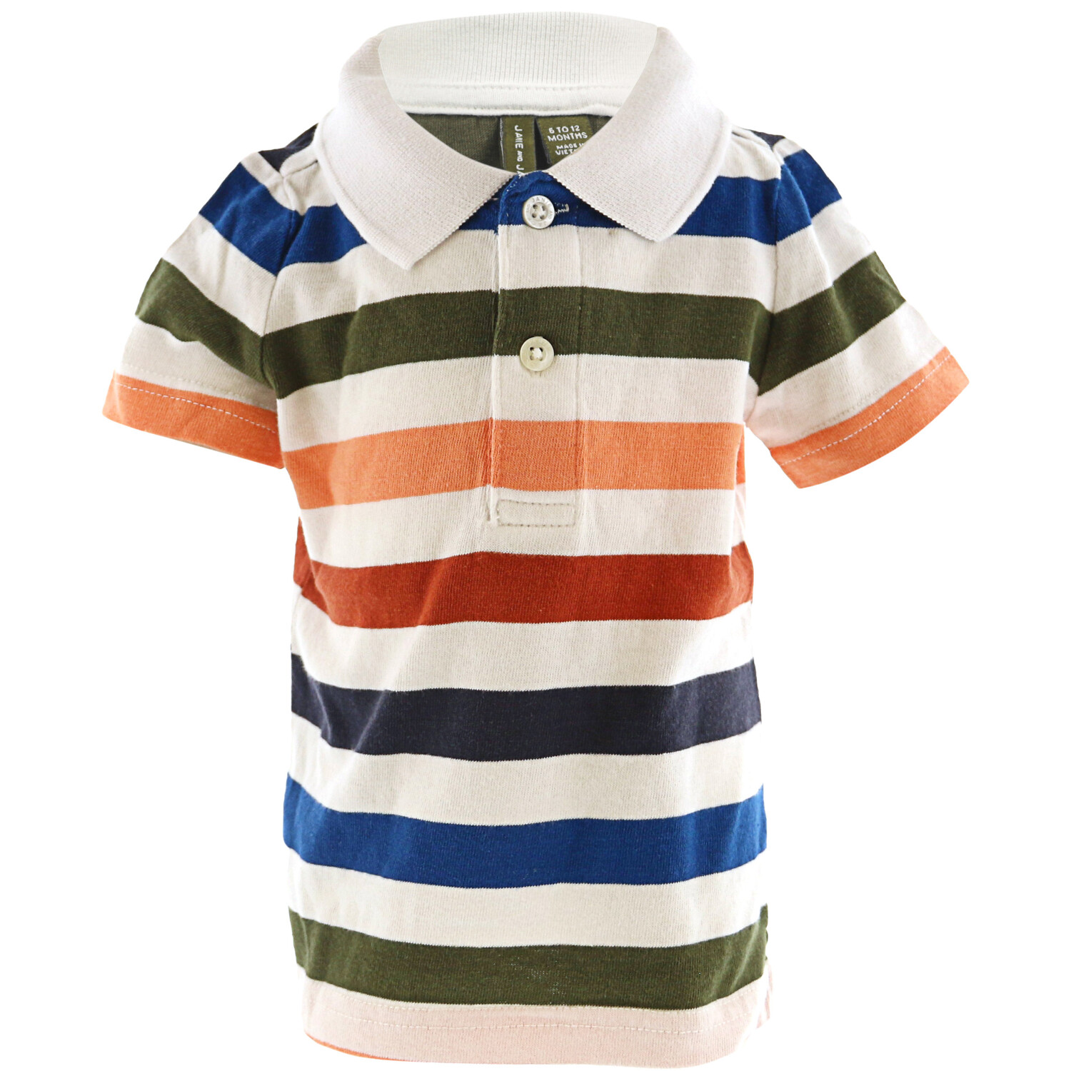 Janie And Jack Boy's Striped Polo - 3-6 Months - White / Green / Blue / Red