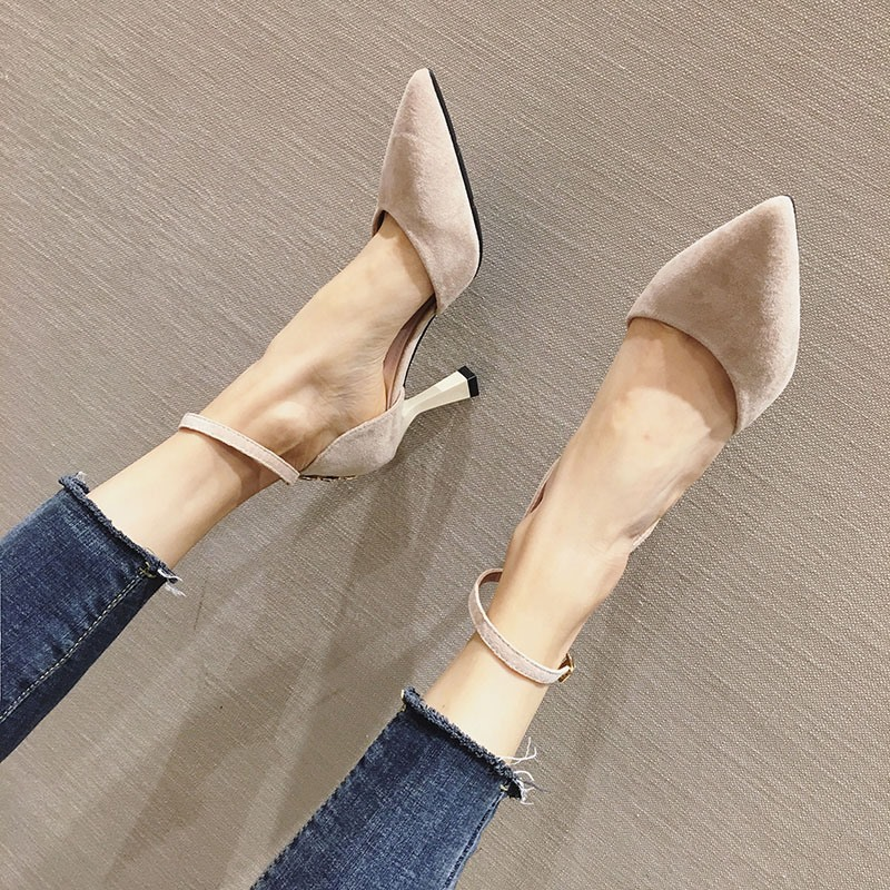 Ericdress Pointed Toe Line-Style Buckle Thread Banquet Pumps