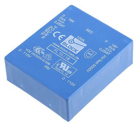 Block 18V ac 2 Output Through Hole PCB Transformer, 10VA