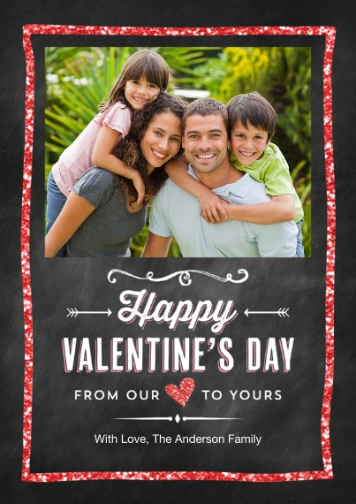 Valentine's Cards Flat Glossy Photo Paper Cards with Envelopes, 5x7, Card & Stationery -Valentine Glitter Frame