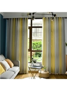 Yellow and Grey Vertical Stripe Cloth and White Voile Sewing Together Blackout Curtains