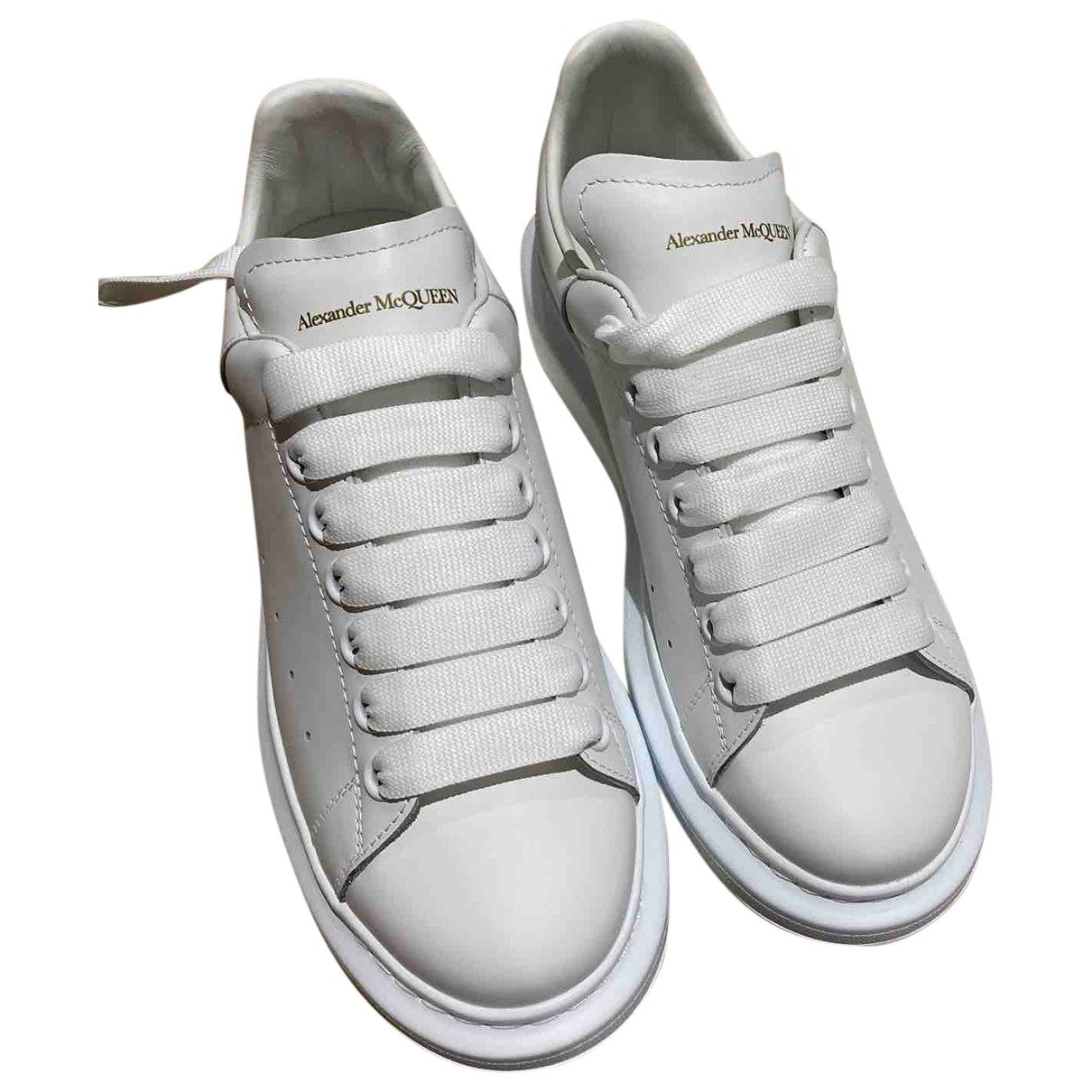 Alexander Mcqueen Oversize White Leather Trainers for Women 38 EU