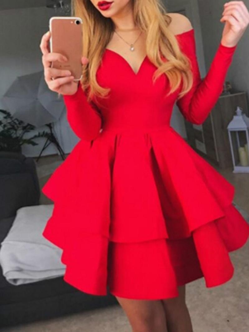 Ericdress V-Neck Long Sleeve Above Knee Plain Sweet Dress