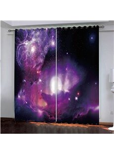 3D Fantastic Starry Sky Painted Darken Polyester Blackout Custom Scenery Curtains