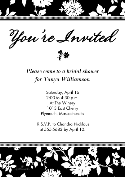 Party Invitations 5x7 Cards, Premium Cardstock 120lb with Scalloped Corners, Card & Stationery -Black & White Floral