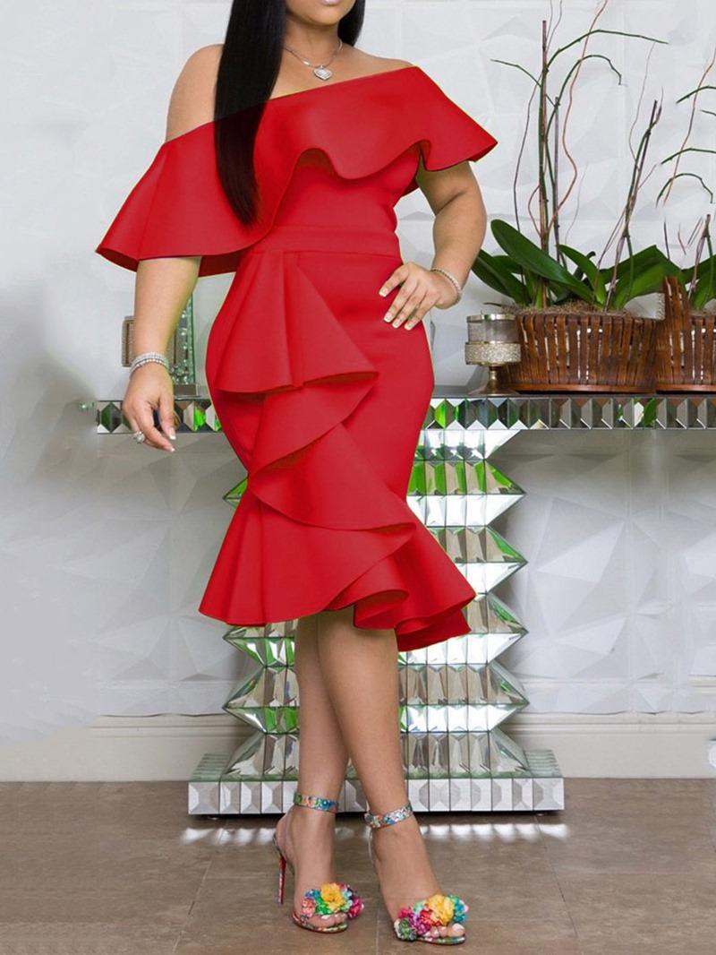 Ericdress Mid-Calf Off Shoulder Asymmetric Plain Bodycon Dress