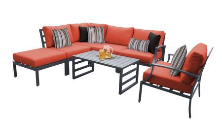 Lexington LEXINGTON-07f-TANGERINE 7-Piece Aluminum Patio Set 07f with 1 Right Arm Chair  1 Club Chair  1 Coffee Table  1 Ottoman  1 Corner Chair and