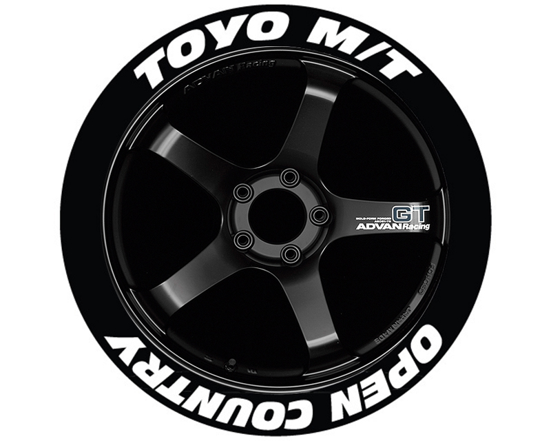 Tire Stickers TOYOPE-1718-1-4-Y Yellow 'Toyo Tires Open Country' Permanent Raised Rubber Lettering Set of 4- 17
