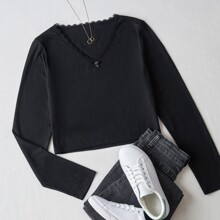 Ribbed Lace Trim Tee