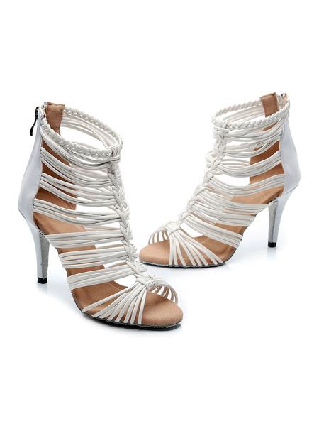 Milanoo Women\'s Customized Latin Dance Shoes White Peep Toe Gladiator Ballroom Dance Shoes