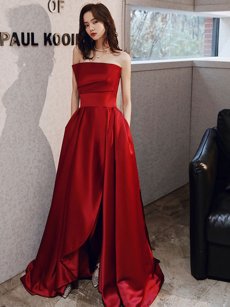 Milanoo Evening Dress A-Line Strapless Satin Fabric Floor-Length Pleated Social Prom Dress