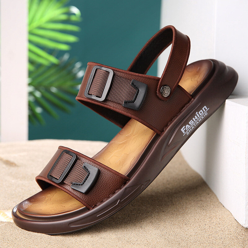Men Adjustable Strap Casual Non Slip Leather Slippers Sandals