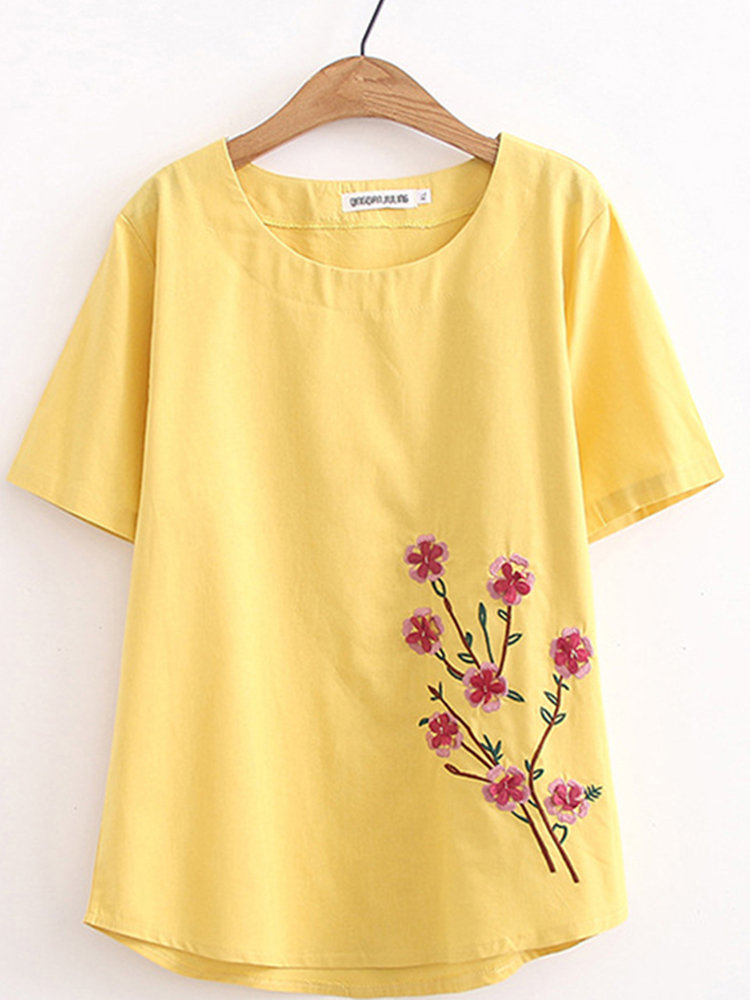 Embroidery Casual Short Sleeve Plus Size T-shirt