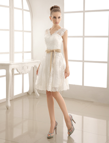 Milanoo Ivory Simple Wedding Dresses 2020 Lace Applique V Neck Ribbon Sash Short bridal dress