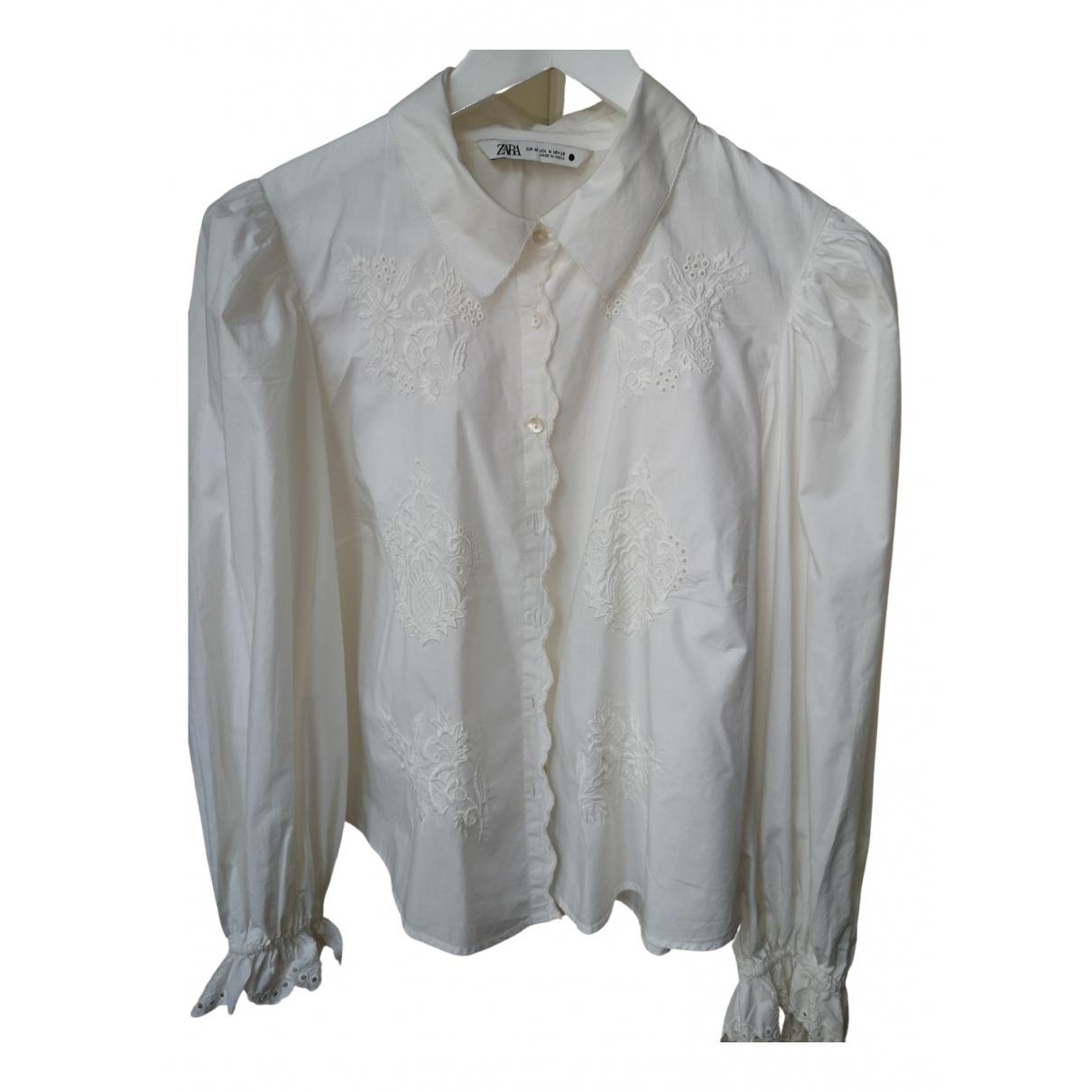 Zara \N White Cotton  top for Women 42 FR