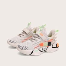 Boys Chinese Letter Graphic Velcro Strap Sneakers
