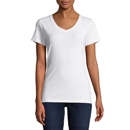 St. John's Bay Tall-Womens V Neck Short Sleeve T-Shirt, Small Tall , White
