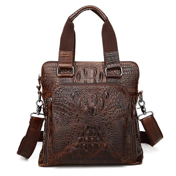 Men Genuine Leather Alligator Business Bag Handbag Laptop Bag Briefcase Crossbody Bag