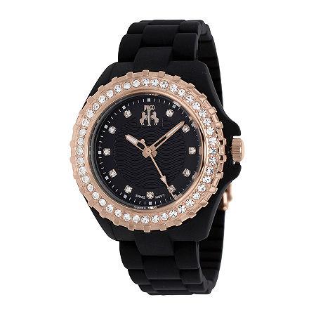 Jivago Cherie Womens Black Dial Rose-Tone Bezel Bracelet Watch, One Size , No Color Family