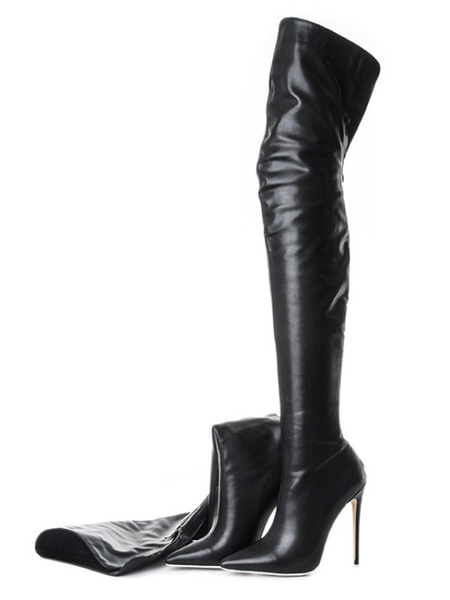 Milanoo Black Thigh High Boots Womens PU Pointed Toe Stiletto Heel Over The Knee Boots
