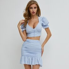 Puff Sleeve Buttoned Top & Flounce Skirt Set