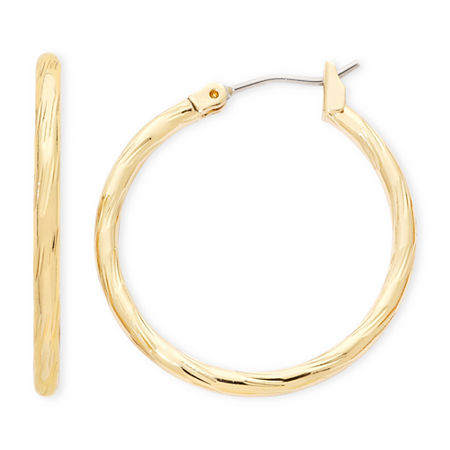 Liz Claiborne Gold-Tone, Textured Hoop Earrings, One Size , Yellow