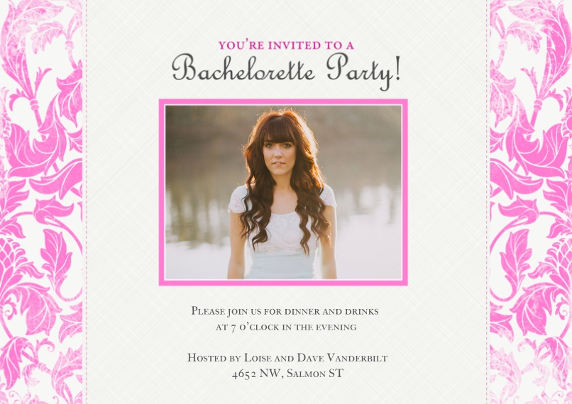Party Invitations Flat Glossy Photo Paper Cards with Envelopes, 5x7, Card & Stationery -Botanical Bachelorette Party