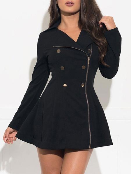 Milanoo Little Black Dress Long Sleeve Turndwon Collar Buttons Coat Dress