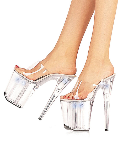 Milanoo Women Sexy Shoes Transparent Platform Open Toe Stiletto Heel Sandal Slippers High Heel Sandals