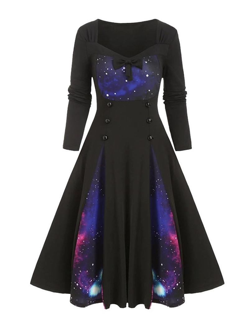 Ericdress Long Sleeve Knee-Length Print Expansion Dress
